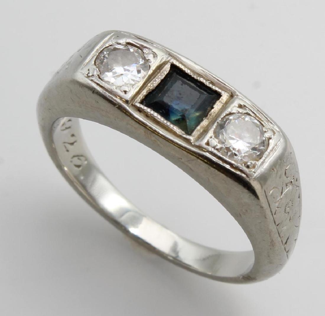 Ring. Sapphire and Diamond. 14K White Gold