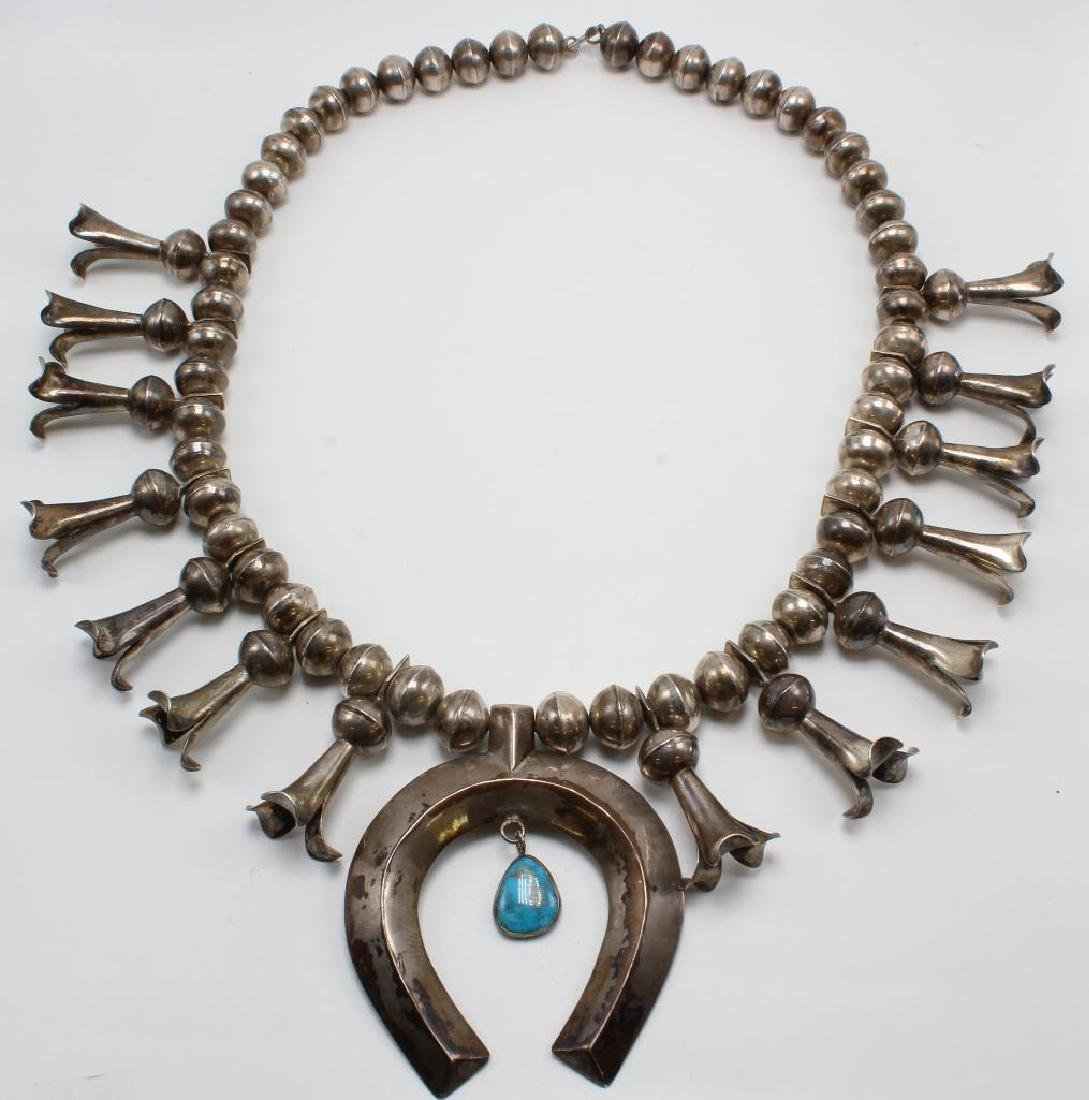 Squash Blossom Necklace. Turquoise. Silver