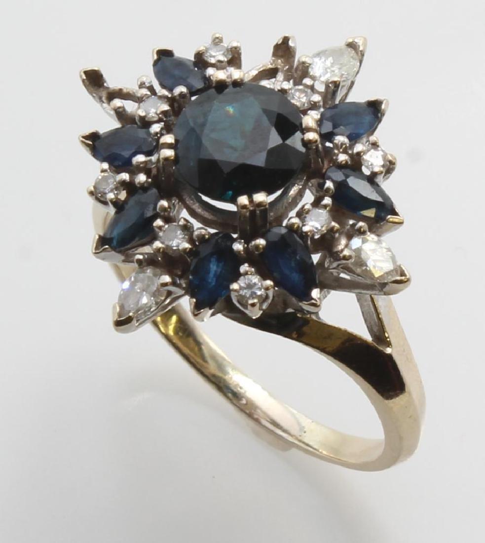 Sapphire and Diamond Ring. 18K White Gold