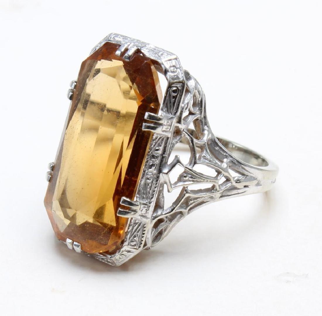 18k White Gold Filigree Citrine Ring