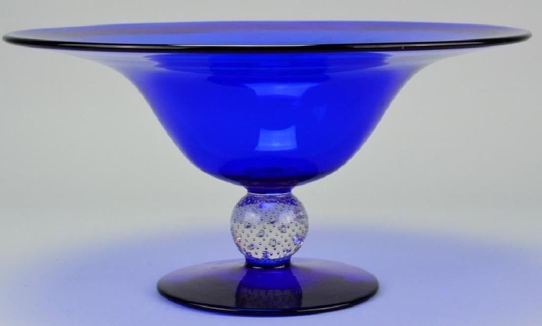 Steuben Cobalt Blue Art Glass Compote