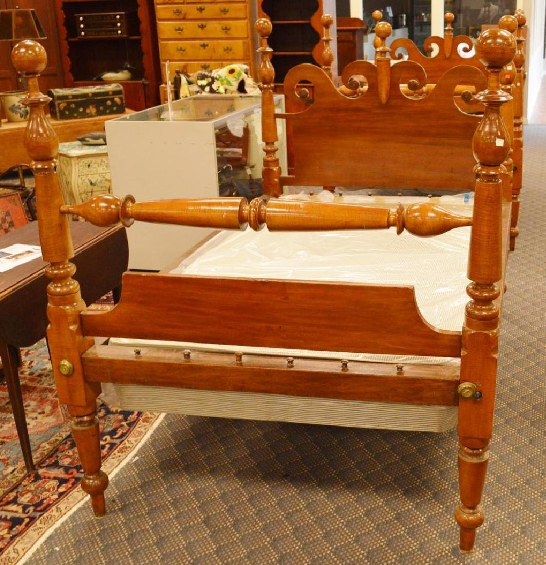 (2) Pair of Tiger Maple Rope Beds
