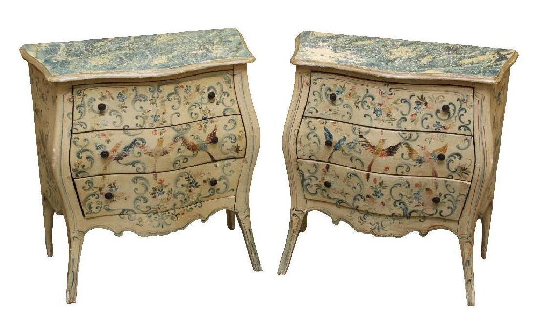 Pair Paint Decorated Commodes