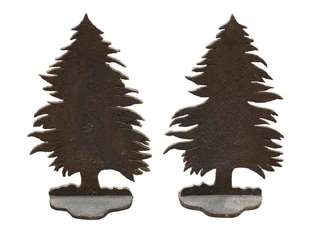 Pair of Cast Iron Pine Tree Andirons