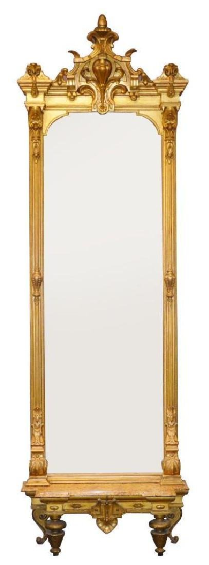 19th C. Giltwood Carved Monumental Pier Mirror and Base