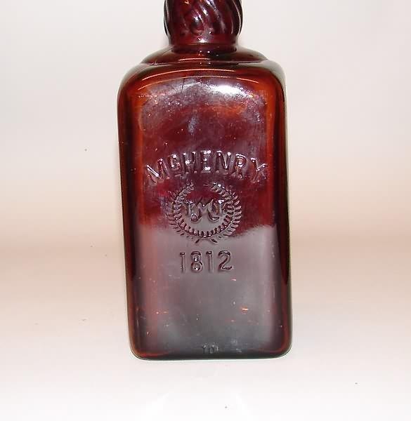 3364: Amber Glass McHenry 1812 Whiskey Bottle - 2