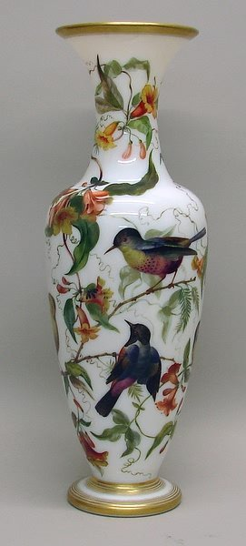 3426: Tall Milk Glass Vase  with Painted Birds and Flow
