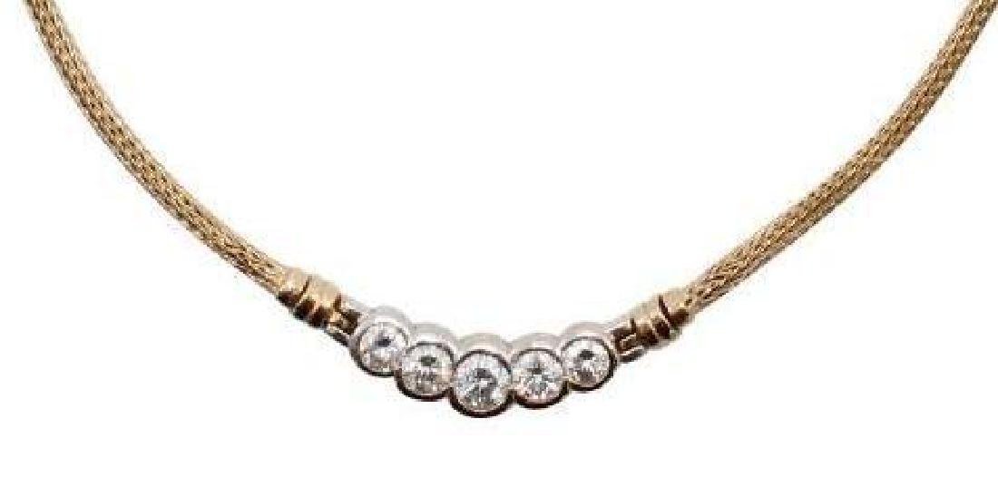 14K Yellow and White Gold Necklace with Diamonds