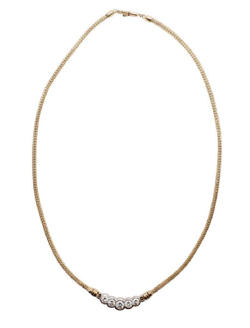 14K Yellow and White Gold Necklace with Diamonds - 2