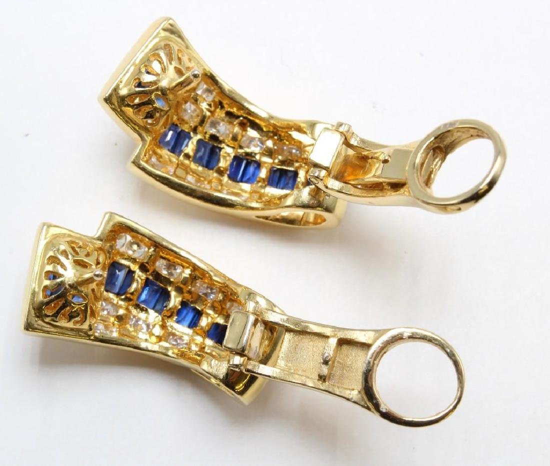 18K Yellow Gold Earrings with Blue Sapphires and - 3