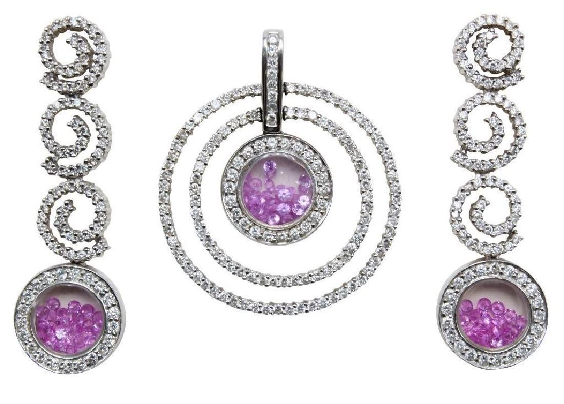 14K White Gold Pendant and Earrings with Pink Sapphires