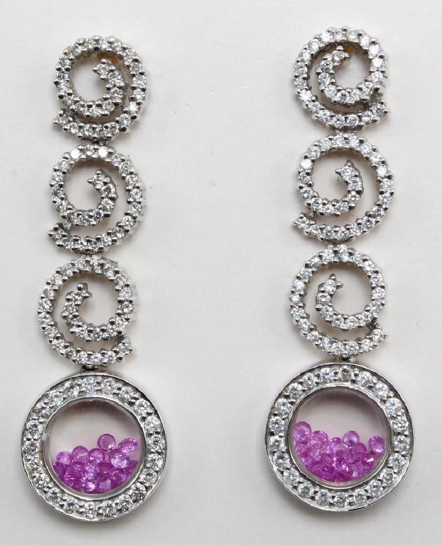 14K White Gold Pendant and Earrings with Pink Sapphires - 4