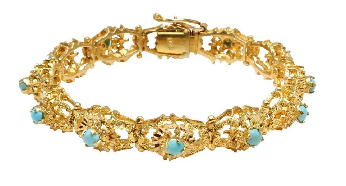 18K Yellow Gold Bracelet with Turquoise, Diamond Cut