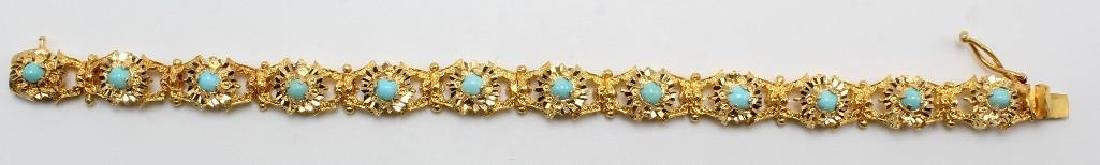 18K Yellow Gold Bracelet with Turquoise, Diamond Cut - 2