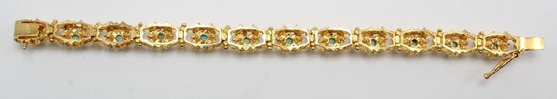 18K Yellow Gold Bracelet with Turquoise, Diamond Cut - 3