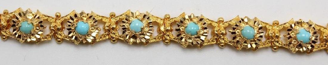 18K Yellow Gold Bracelet with Turquoise, Diamond Cut - 4