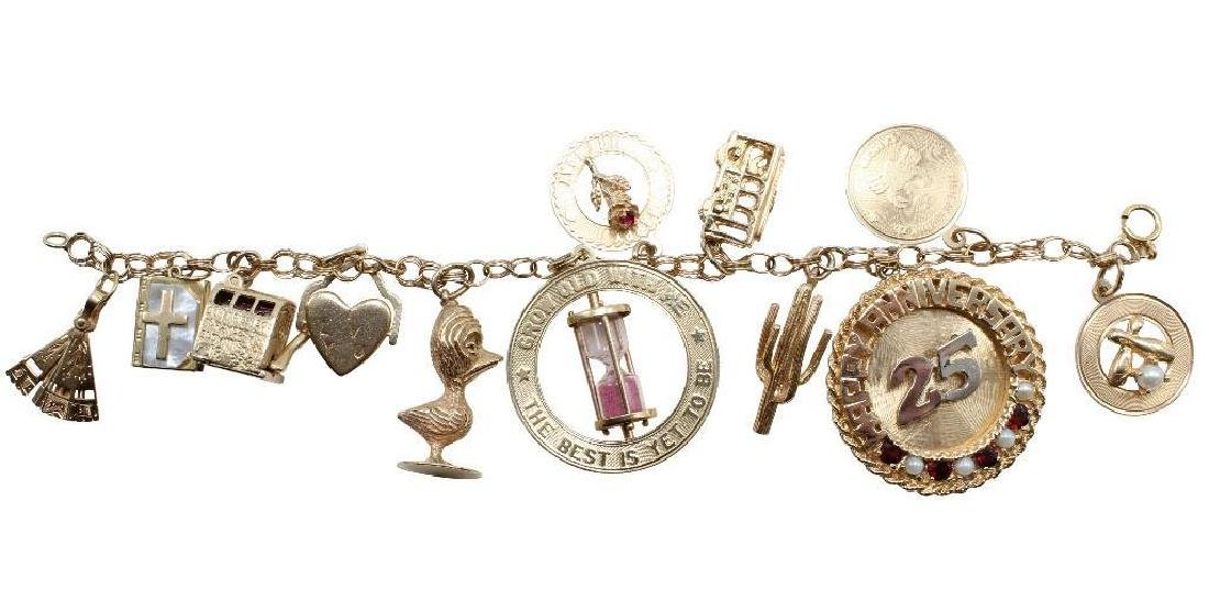 14K Yellow Gold Charm Bracelet with Charms - 2