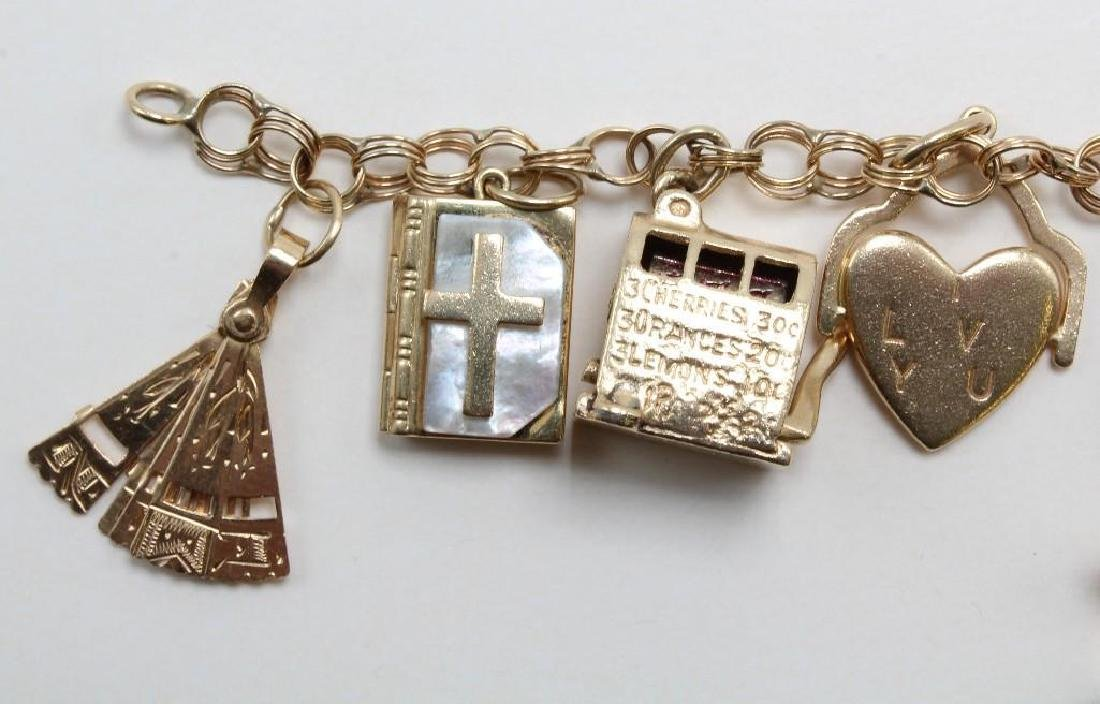 14K Yellow Gold Charm Bracelet with Charms - 3