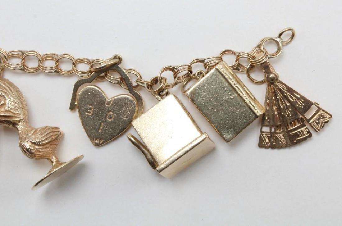 14K Yellow Gold Charm Bracelet with Charms - 9