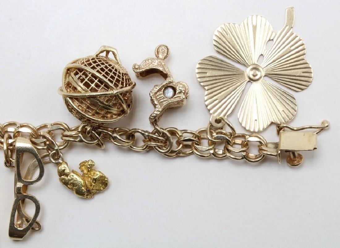 14K Yellow Gold Charm Bracelet with Charms - 6