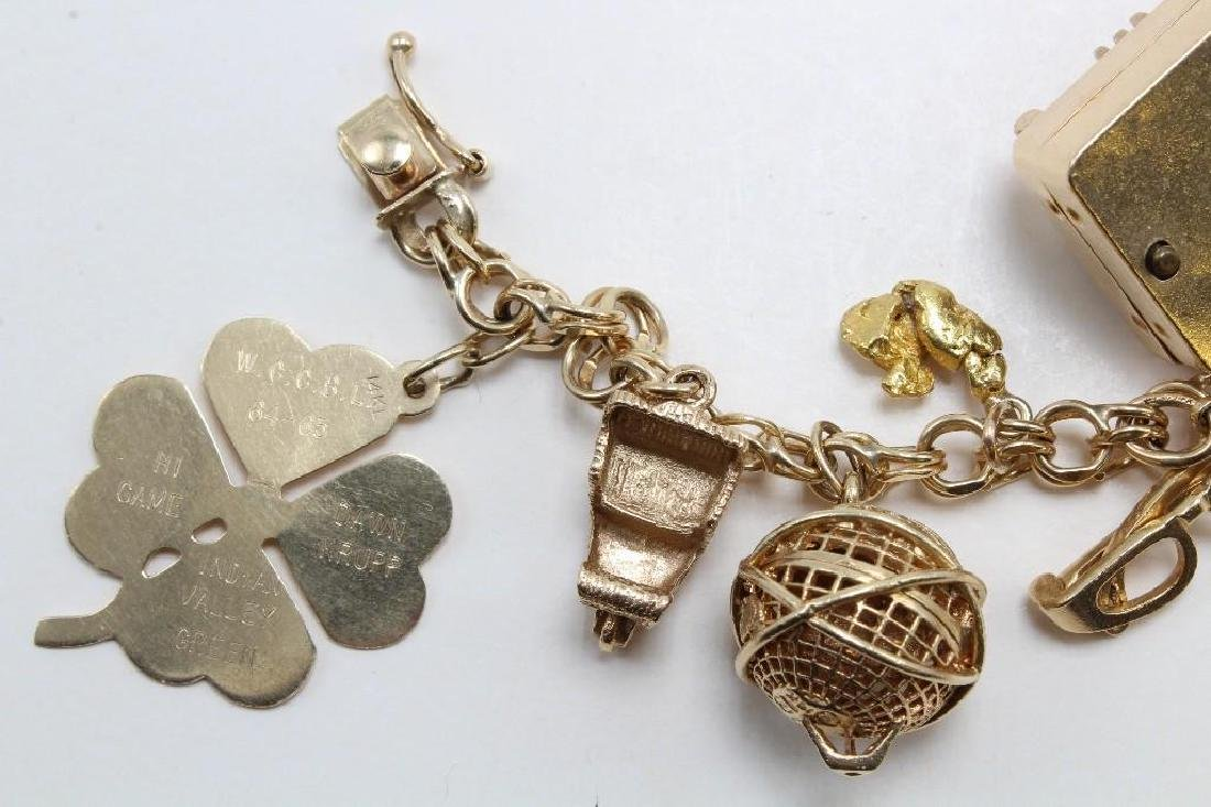 14K Yellow Gold Charm Bracelet with Charms - 7