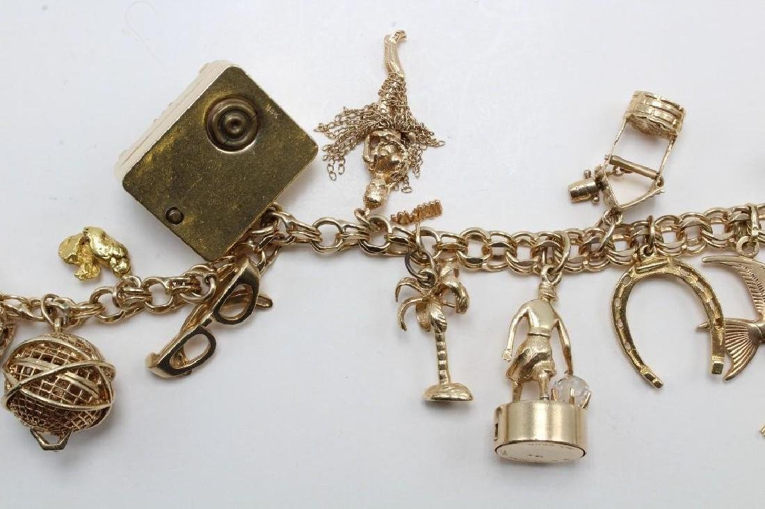 14K Yellow Gold Charm Bracelet with Charms - 8