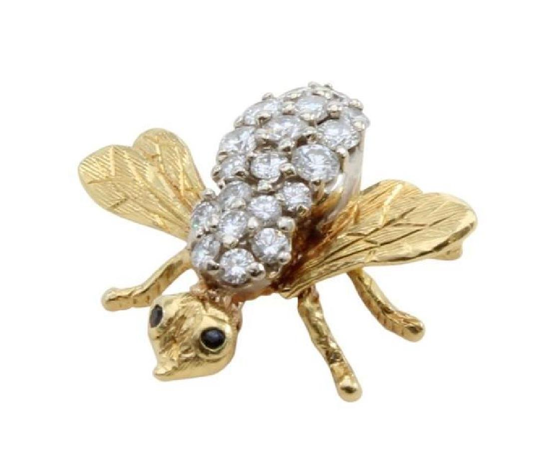 18K Yellow Gold Insect Pin with Diamonds and Sapphires