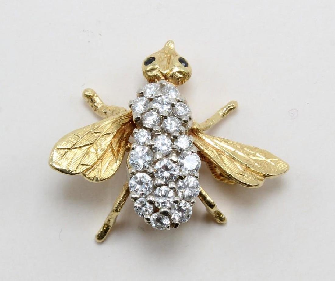 18K Yellow Gold Insect Pin with Diamonds and Sapphires - 2