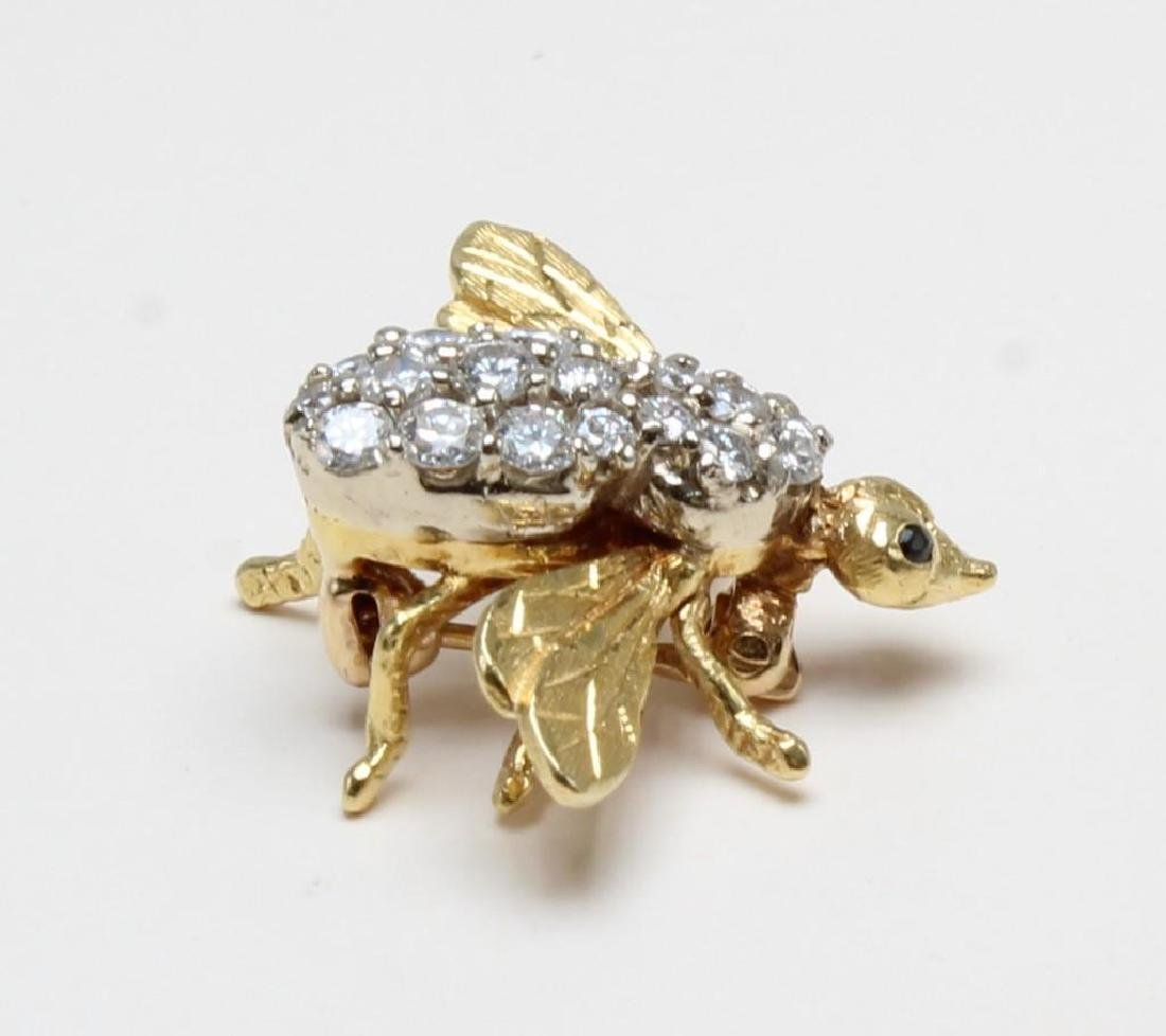 18K Yellow Gold Insect Pin with Diamonds and Sapphires - 5