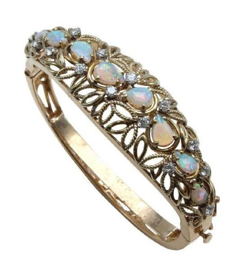 14K Yellow Gold Hinged Bangle Bracelet with Opals and