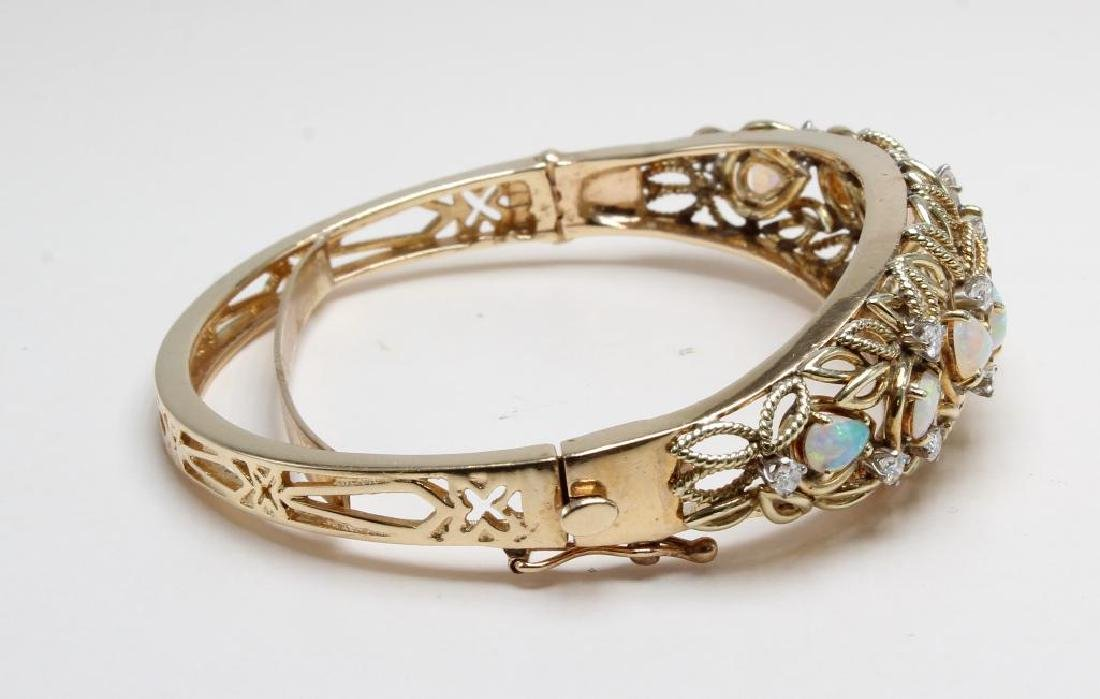 14K Yellow Gold Hinged Bangle Bracelet with Opals and - 3