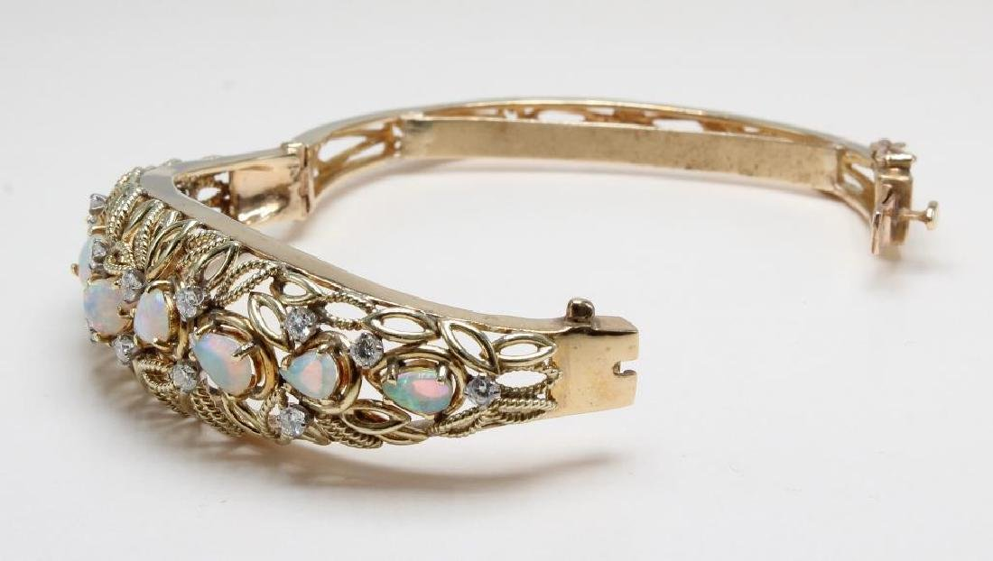 14K Yellow Gold Hinged Bangle Bracelet with Opals and - 6