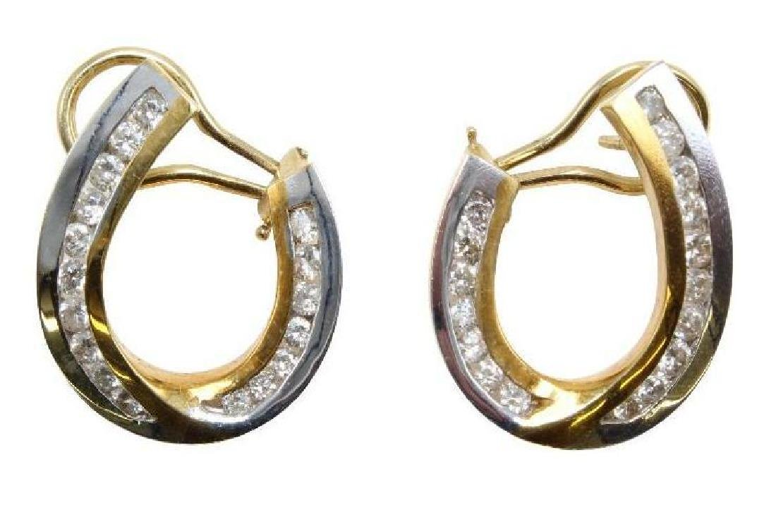 18K Yellow and White Gold Earrings with Diamonds