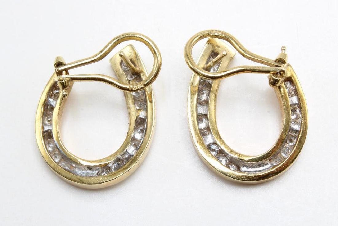 18K Yellow and White Gold Earrings with Diamonds - 2