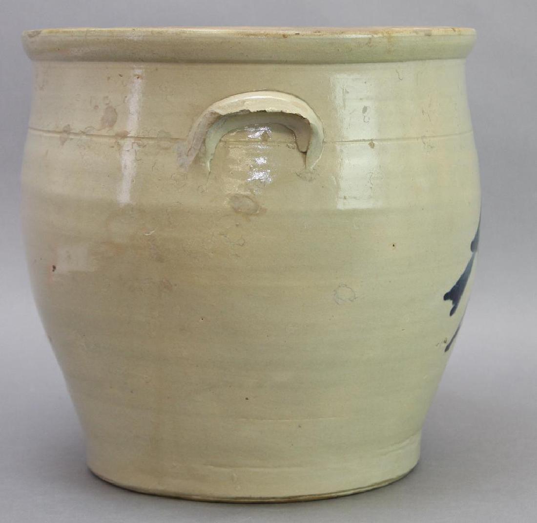 Blue Decorated Stoneware Crock - 4