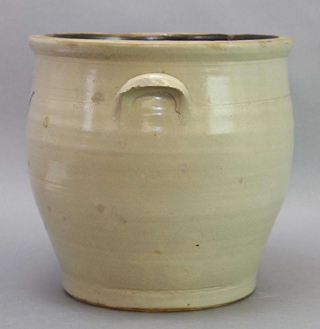 Blue Decorated Stoneware Crock - 6
