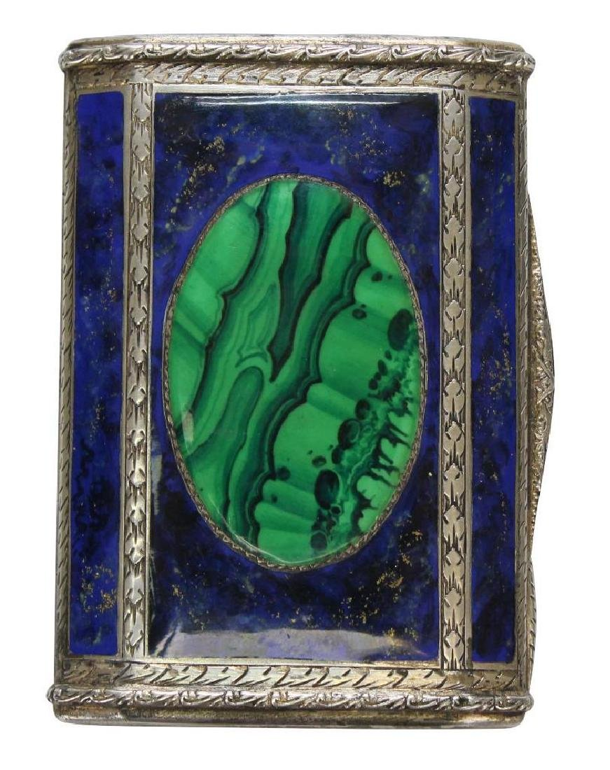 Silver, Lapis and Malachite Card Holder