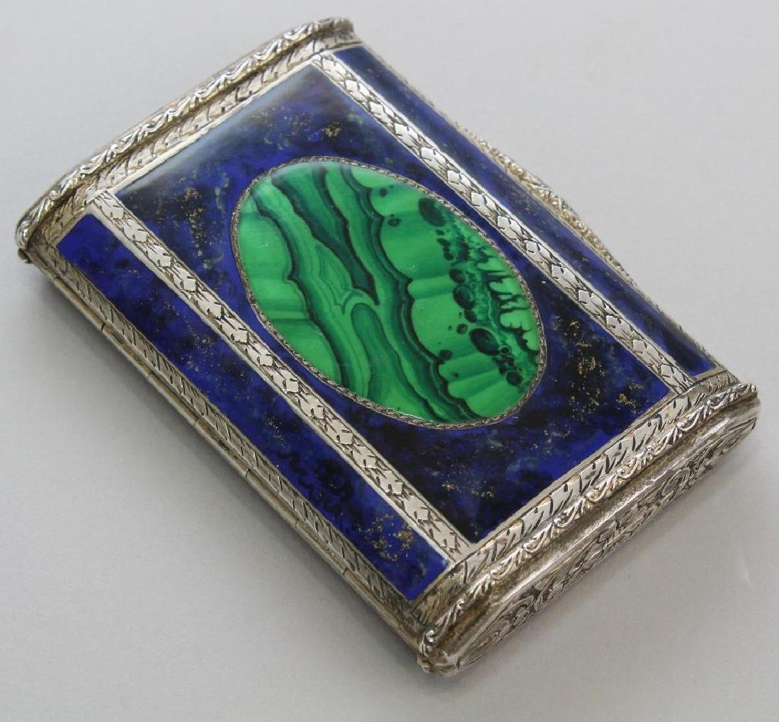 Silver, Lapis and Malachite Card Holder - 2