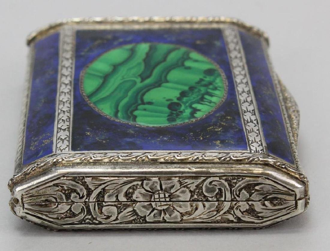 Silver, Lapis and Malachite Card Holder - 4