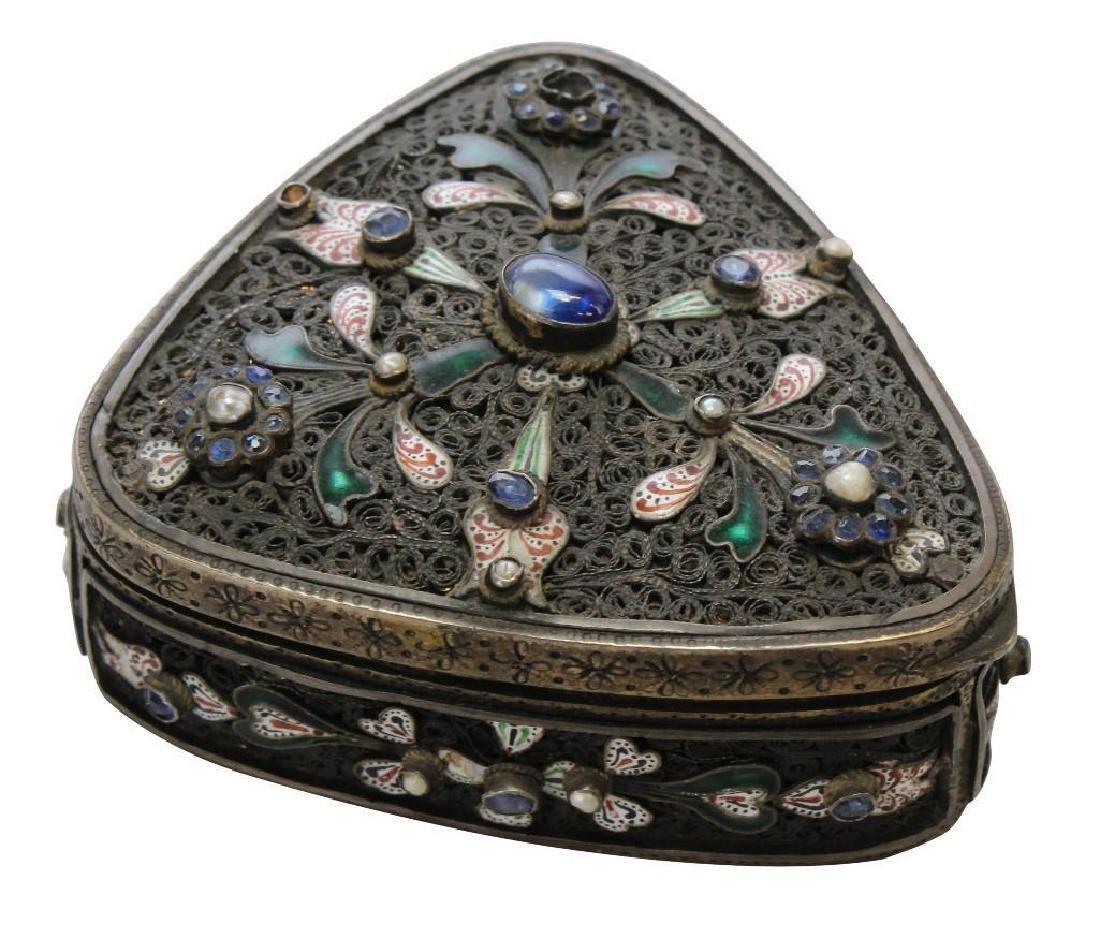 Silver Jeweled Enamel Box