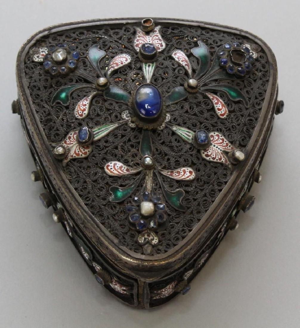 Silver Jeweled Enamel Box - 2