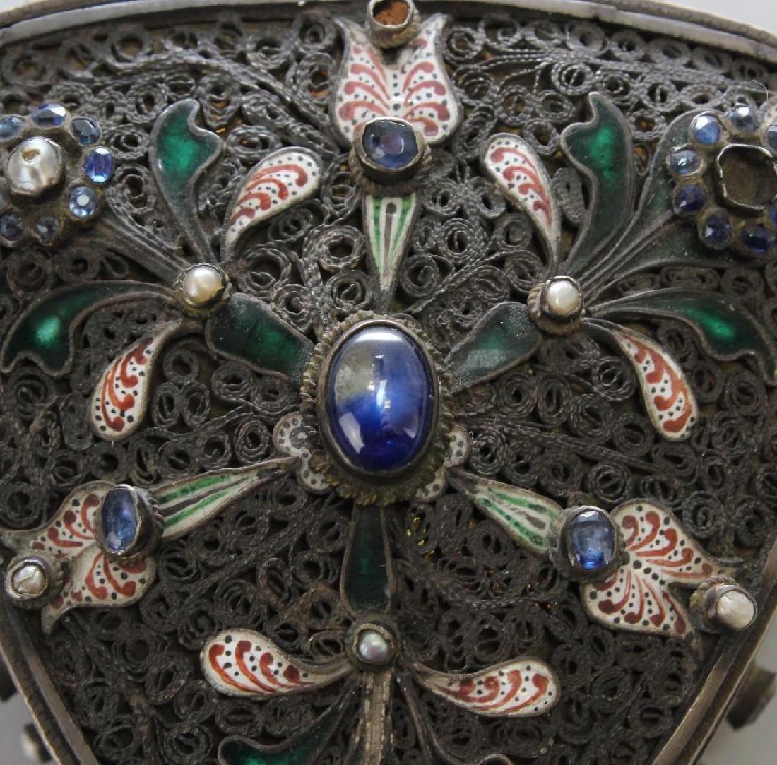 Silver Jeweled Enamel Box - 3