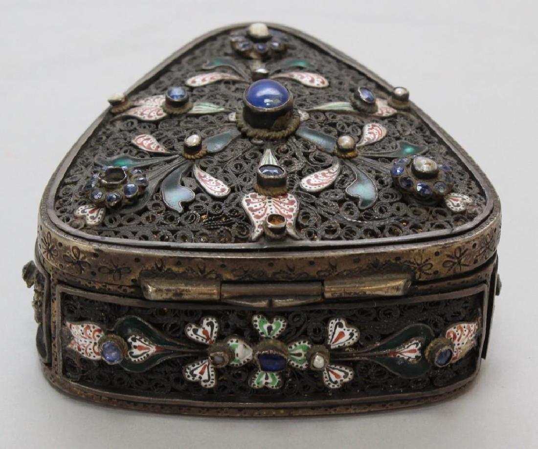Silver Jeweled Enamel Box - 4