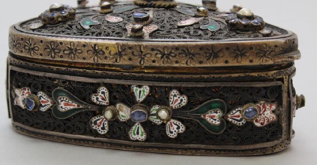 Silver Jeweled Enamel Box - 5