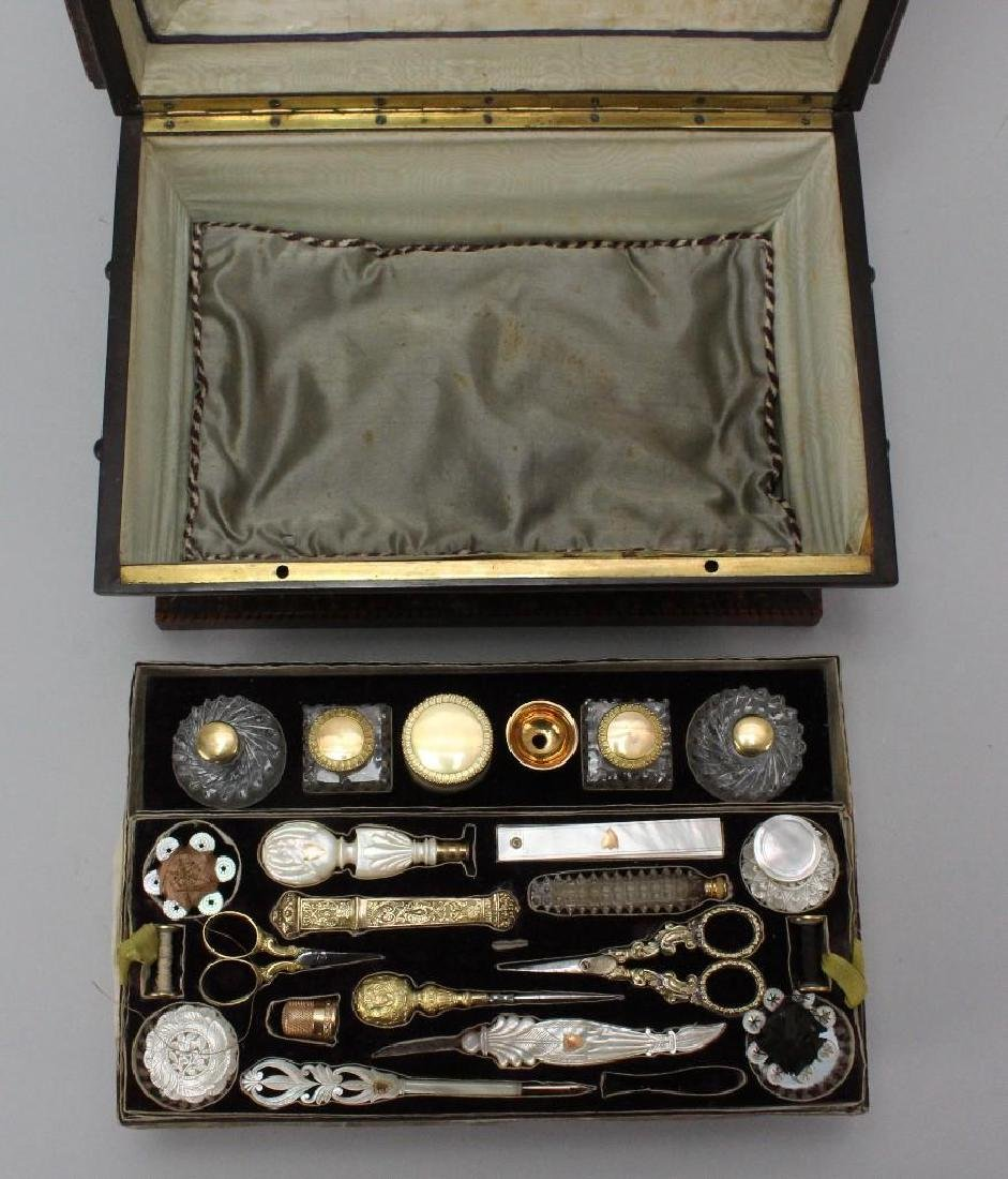 19th C. Travel Sewing Case - 4