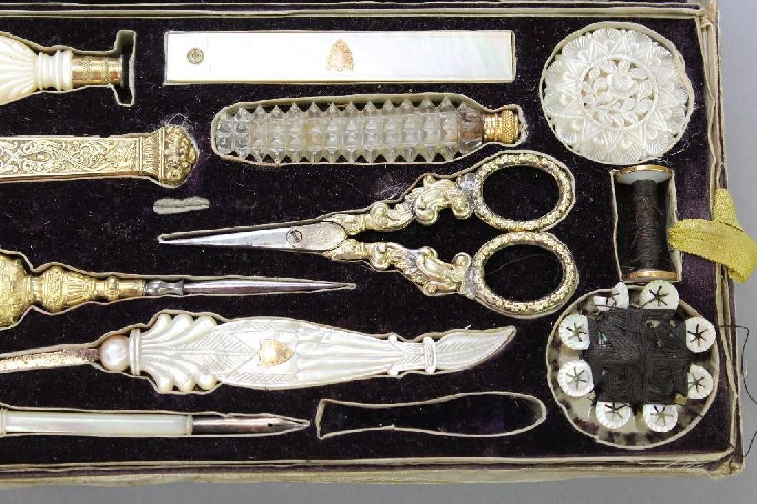 19th C. Travel Sewing Case - 7