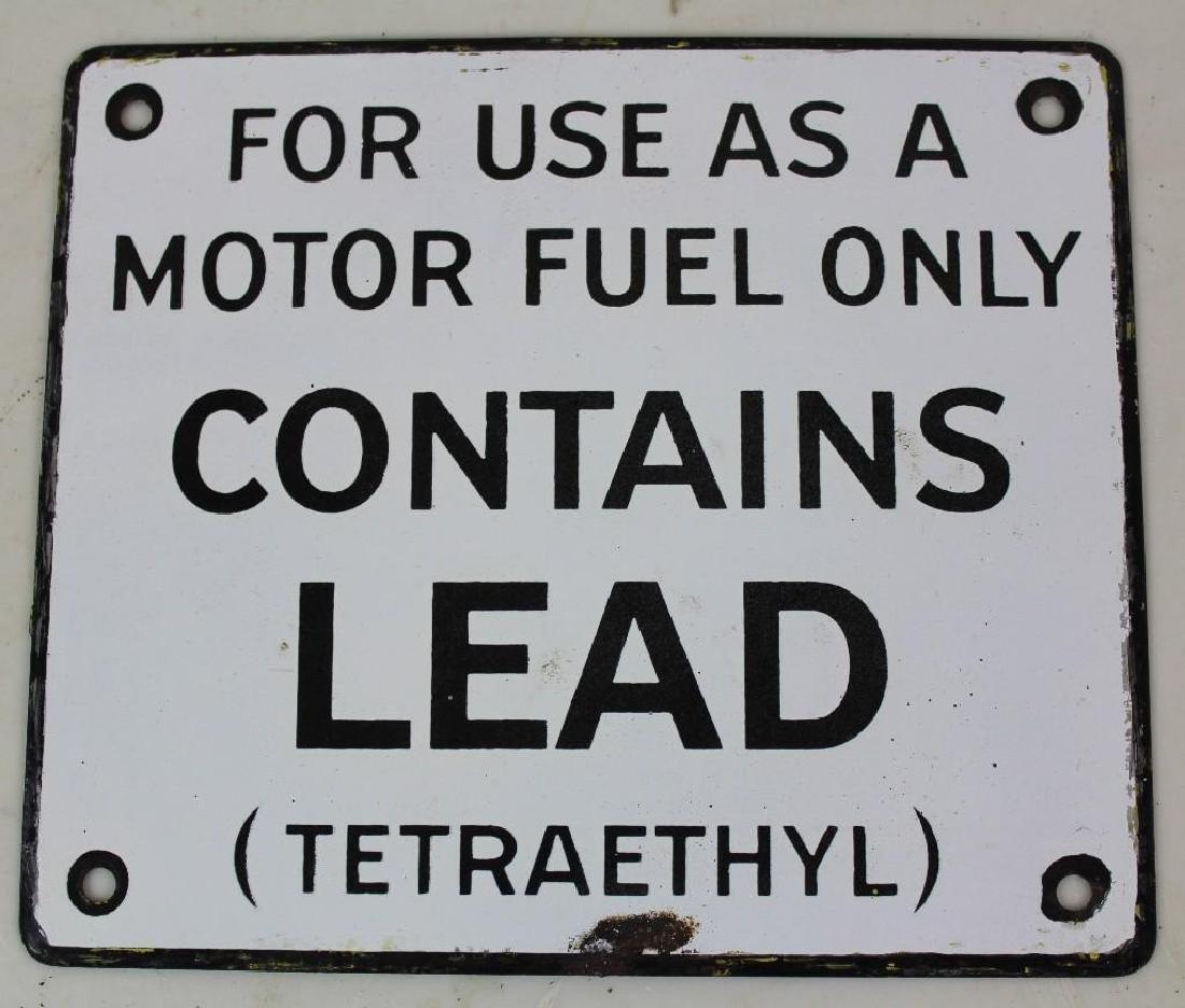 Vintage Enameled Gas pump sign