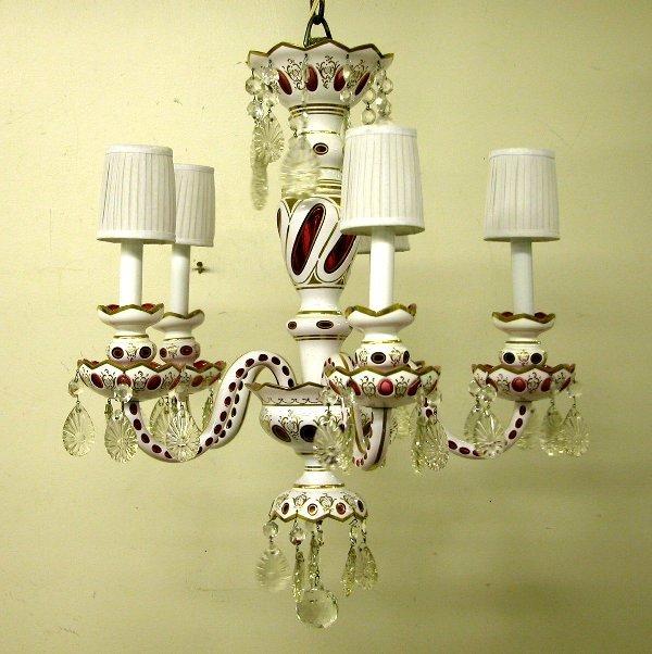 422: Cased Glass Chandelier.