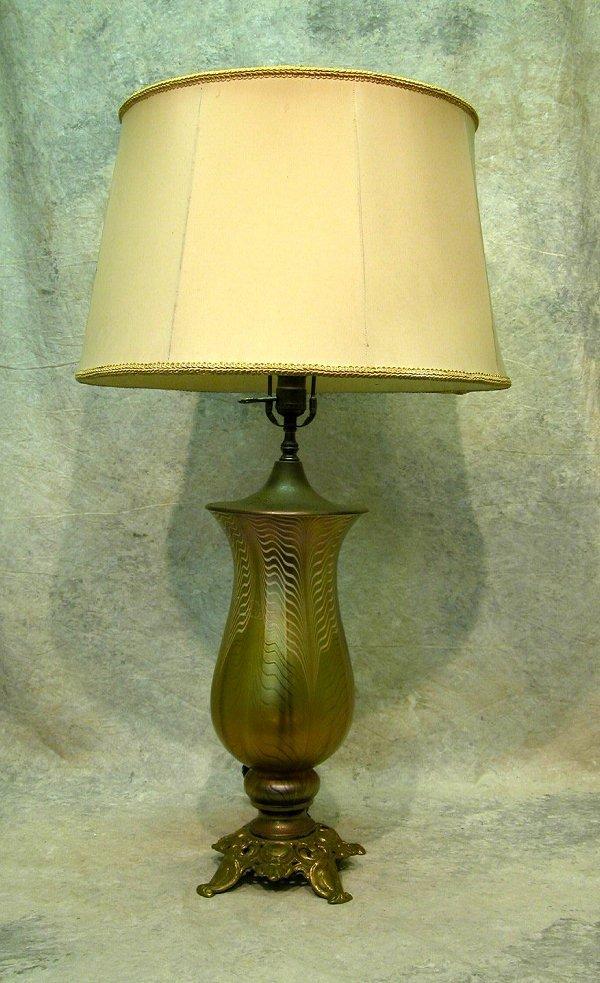 431: Art Glass Vase Lamp.