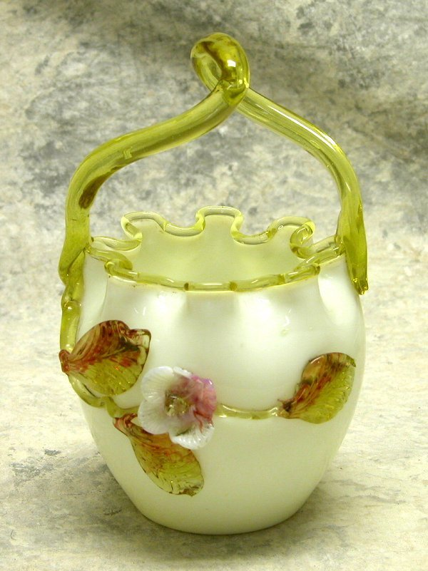 438: Victorian Cased Glass Basket.